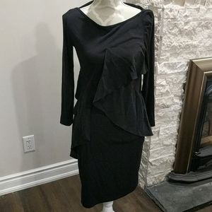 COS Soft black dress with silk ruffles